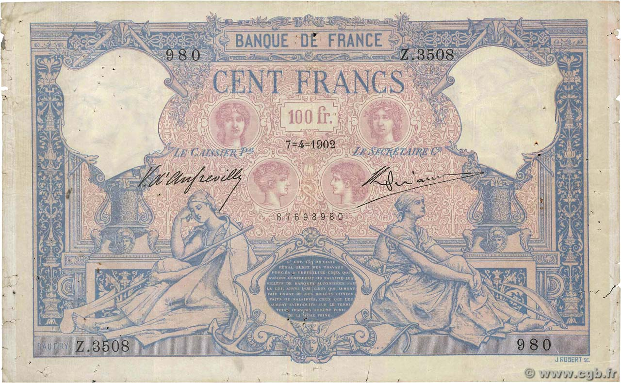 100 Francs BLEU ET ROSE FRANCE  1902 F.21.16 pr.TB
