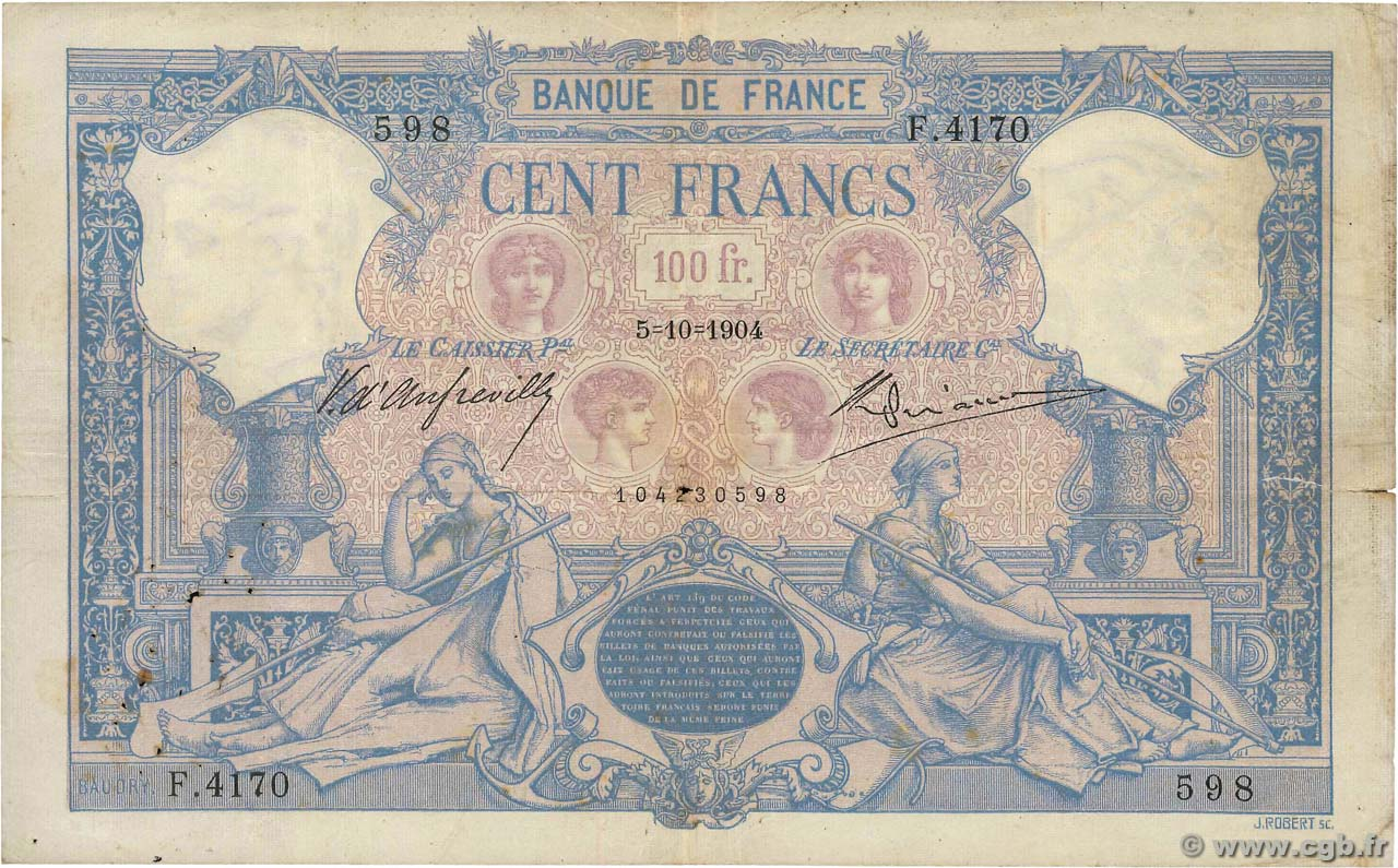 100 Francs BLEU ET ROSE FRANCE  1904 F.21.18 TB