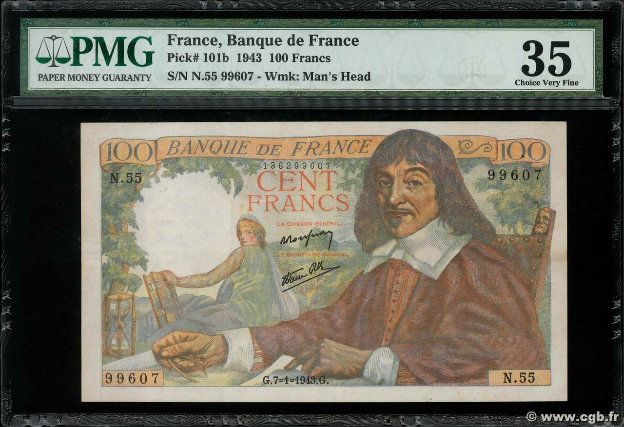 100 Francs DESCARTES FRANCE  1943 F.27.03 TTB