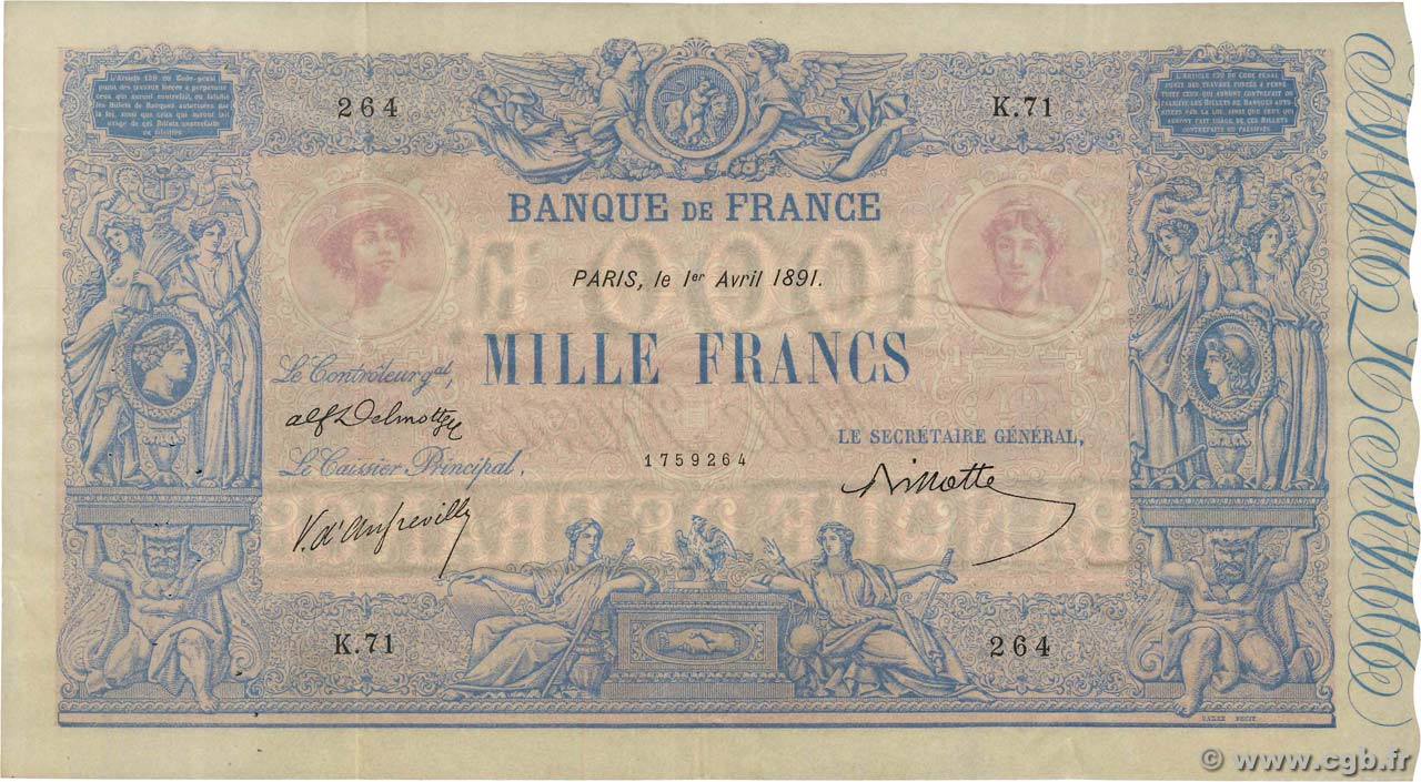 1000 Francs BLEU ET ROSE FRANCE  1891 F.36.03 VF+
