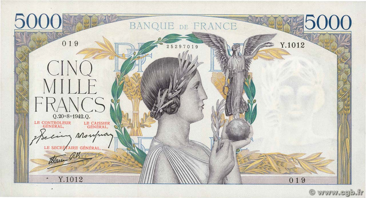 5000 Francs VICTOIRE Impression à plat FRANCE  1942 F.46.40 SUP