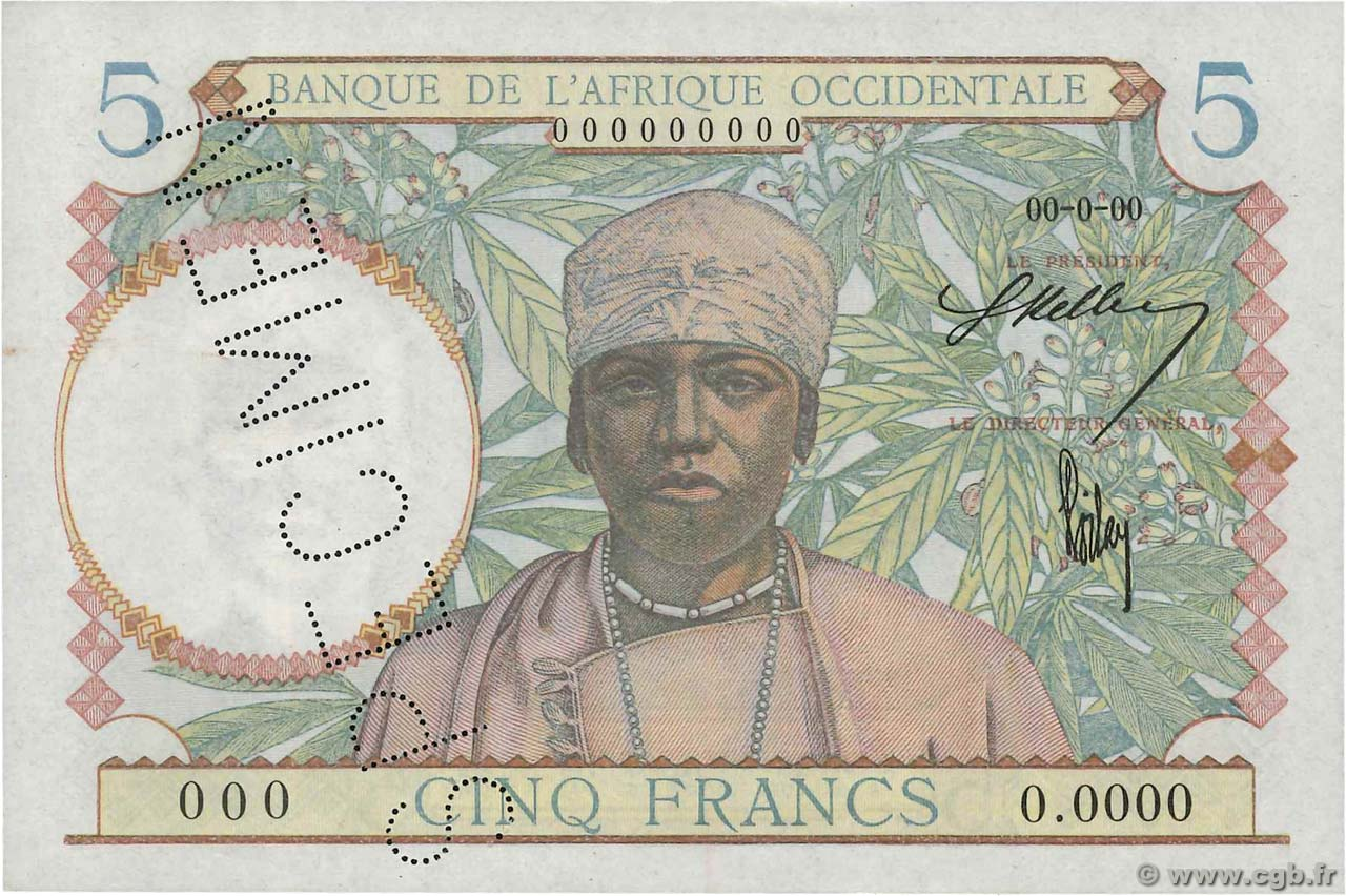 5 Francs Spécimen FRENCH WEST AFRICA  1941 P.25s q.FDC