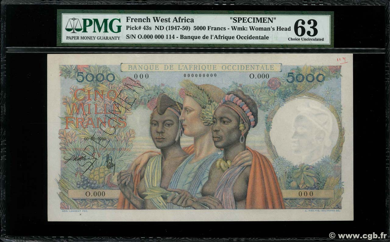 5000 Francs Spécimen FRENCH WEST AFRICA  1947 P.43s q.FDC