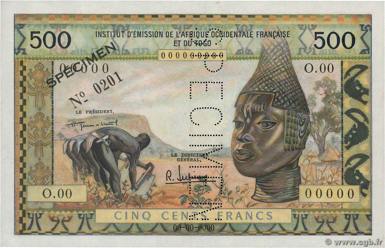 500 Francs Spécimen FRENCH WEST AFRICA (1895-1958)  1957 P.47s UNC-