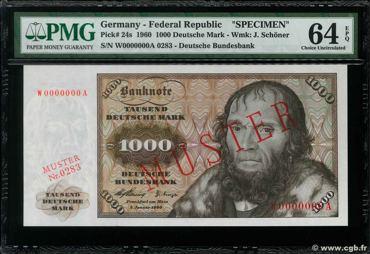 1000 Deutsche Mark Spécimen GERMAN FEDERAL REPUBLIC  1960 P.24s fST+
