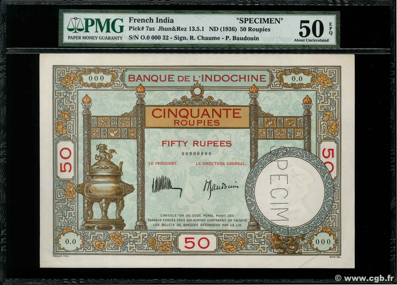 50 Roupies - 50 Rupees Spécimen FRENCH INDIA  1936 P.07s XF+