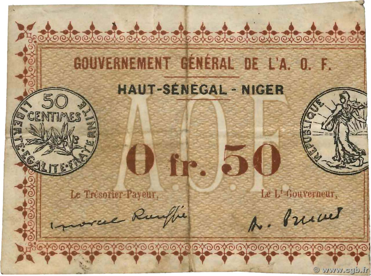 50 Centimes Spécimen FRENCH WEST AFRICA  1917 P.01 q.MB