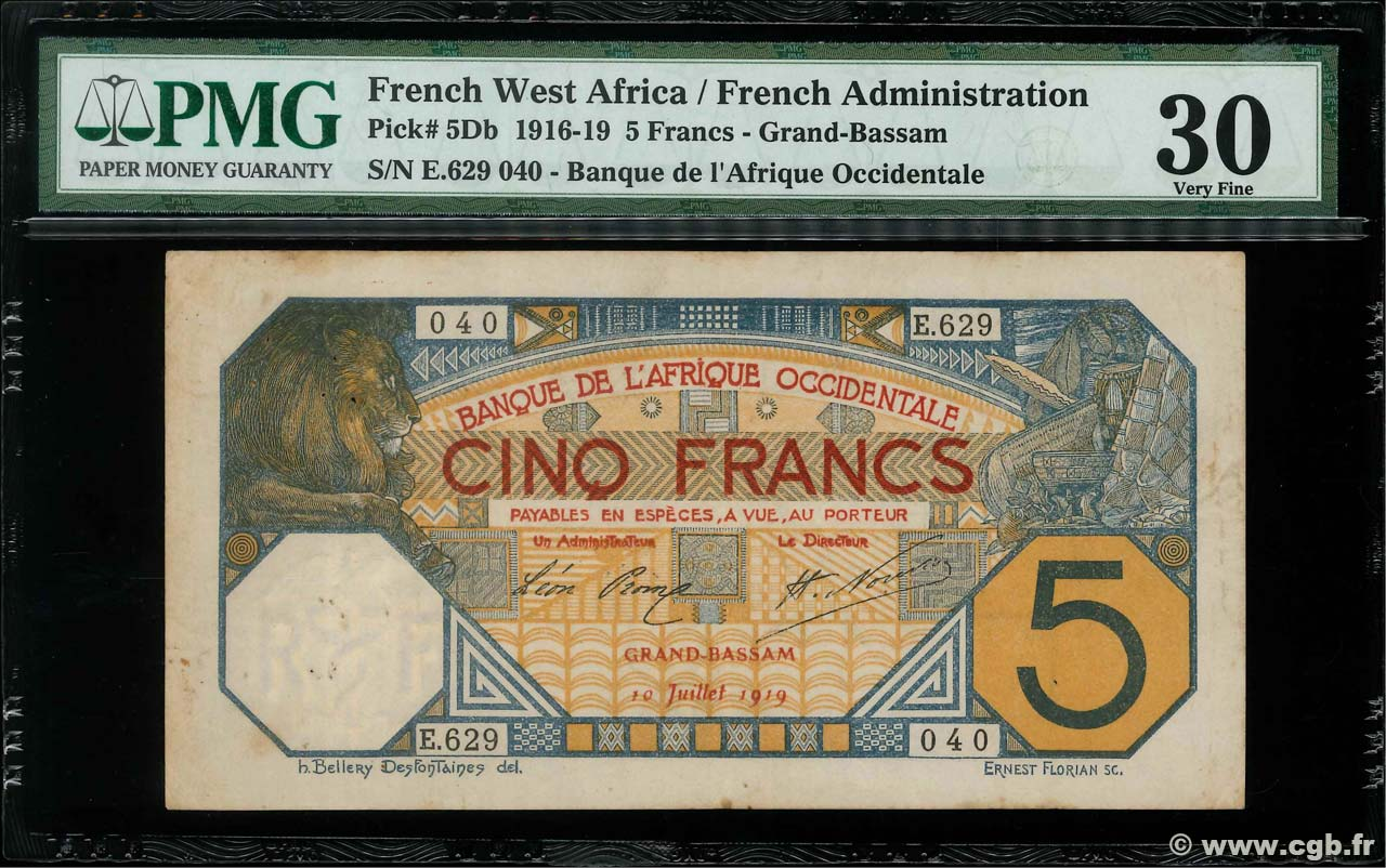 5 Francs GRAND-BASSAM  AFRIQUE OCCIDENTALE FRANÇAISE (1895-1958) Grand-Bassam 1919 P.05Db TTB