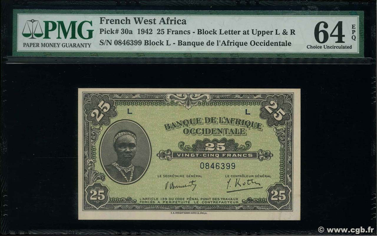 25 Francs FRENCH WEST AFRICA  1942 P.30a fST+