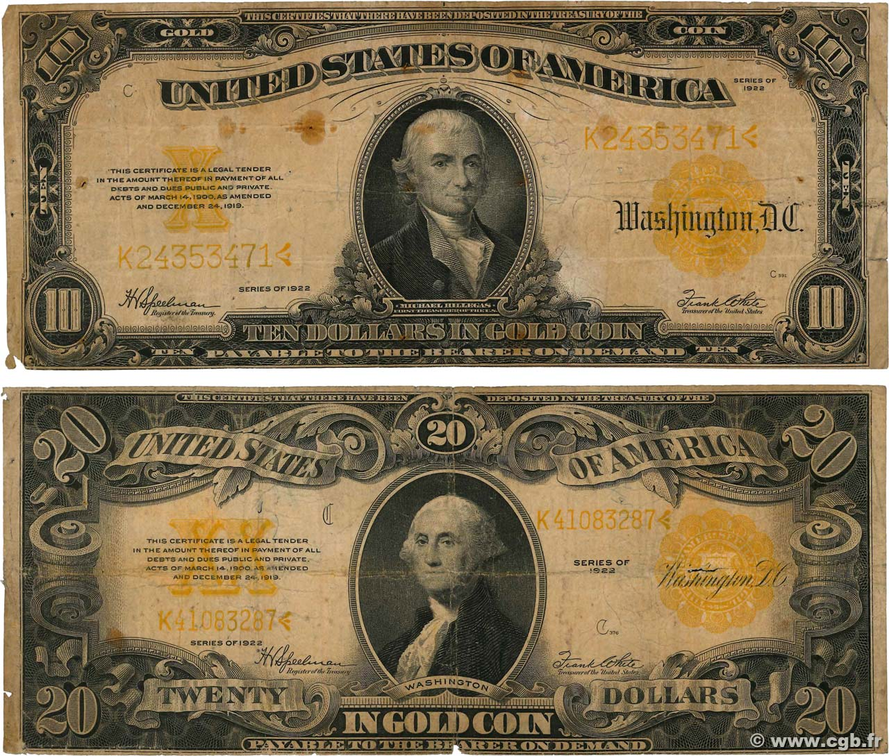 10 et 20 Dollars Lot UNITED STATES OF AMERICA  1922 P.274 et P.275 G