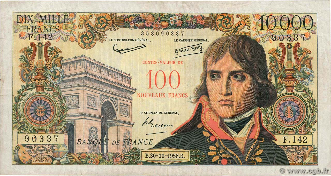 100 NF sur 10000 Francs BONAPARTE FRANCE  1958 F.55.01 TB