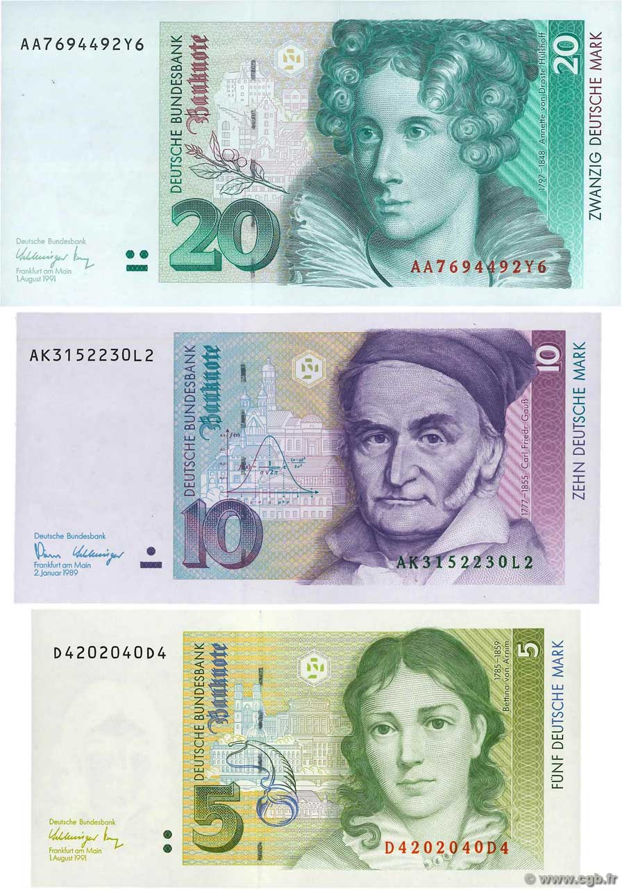 5, 10 et 20 Deutsche Mark Lot GERMAN FEDERAL REPUBLIC  1989 P.37, P.38a et P.39a UNC-