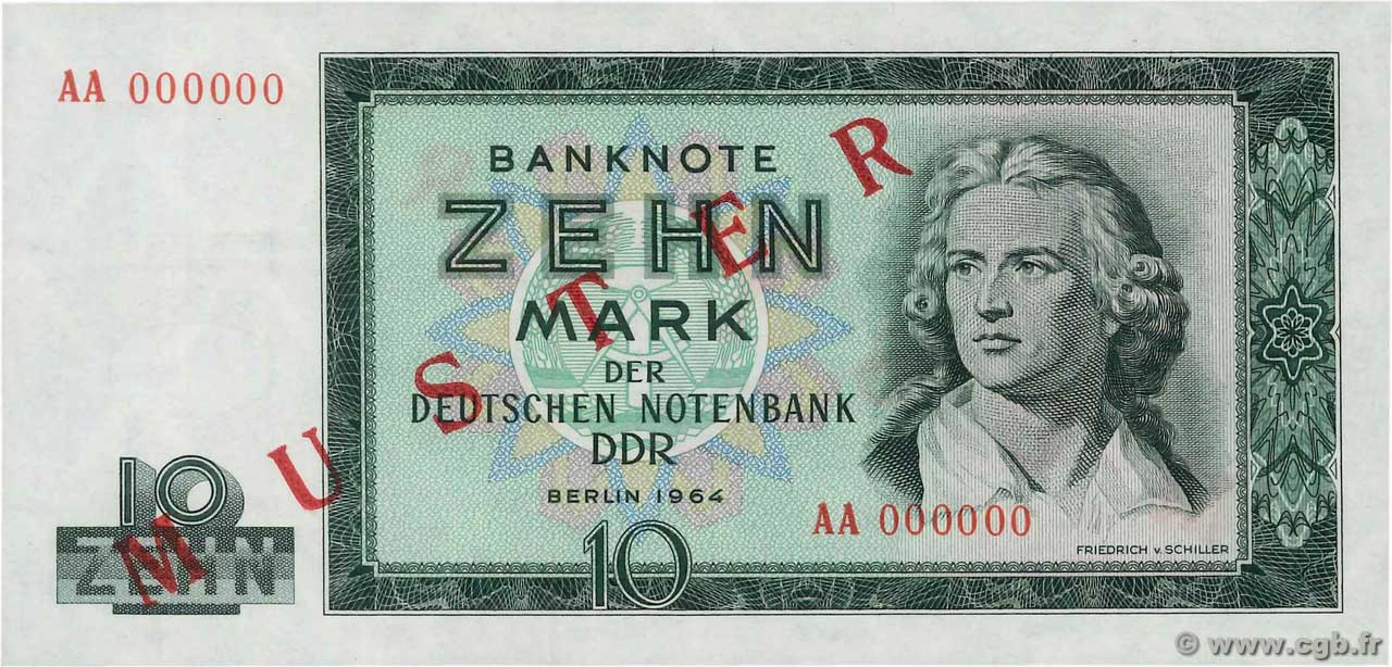 10 Mark Spécimen GERMAN DEMOCRATIC REPUBLIC  1964 P.23s UNC-