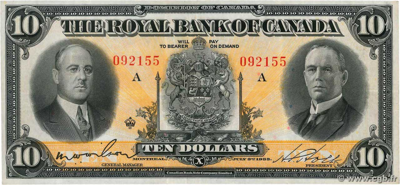 10 Dollars KANADA  1933 PS.1389 fVZ