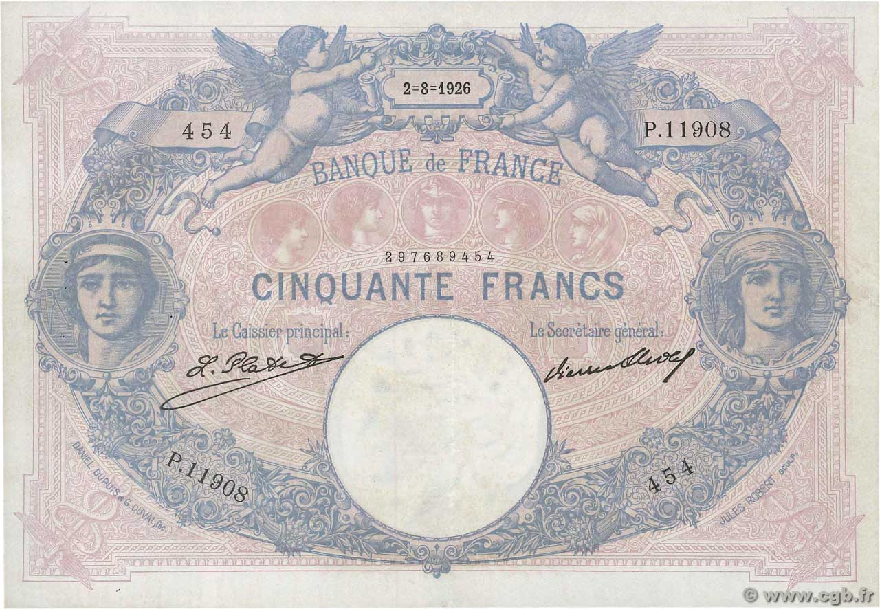 50 Francs BLEU ET ROSE  FRANCE  1926 F.14.39 SUP