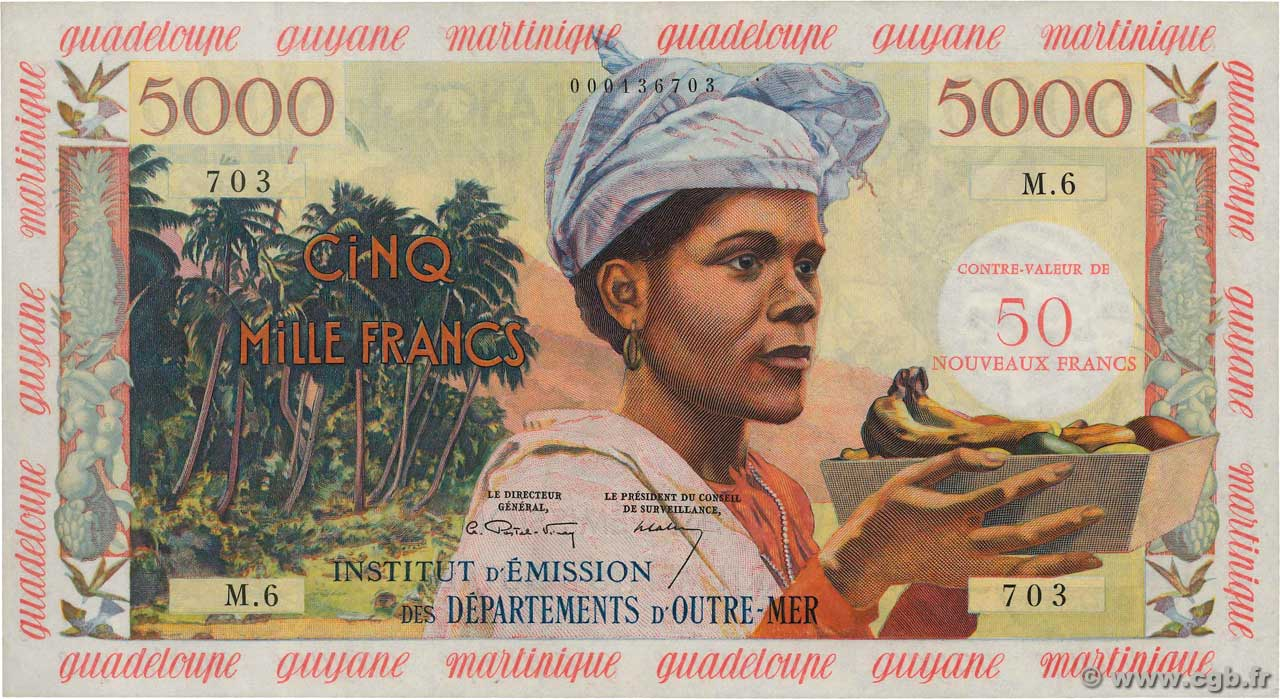 50 NF sur 5000 Francs FRENCH WEST INDIES  1961 P.03a VF+