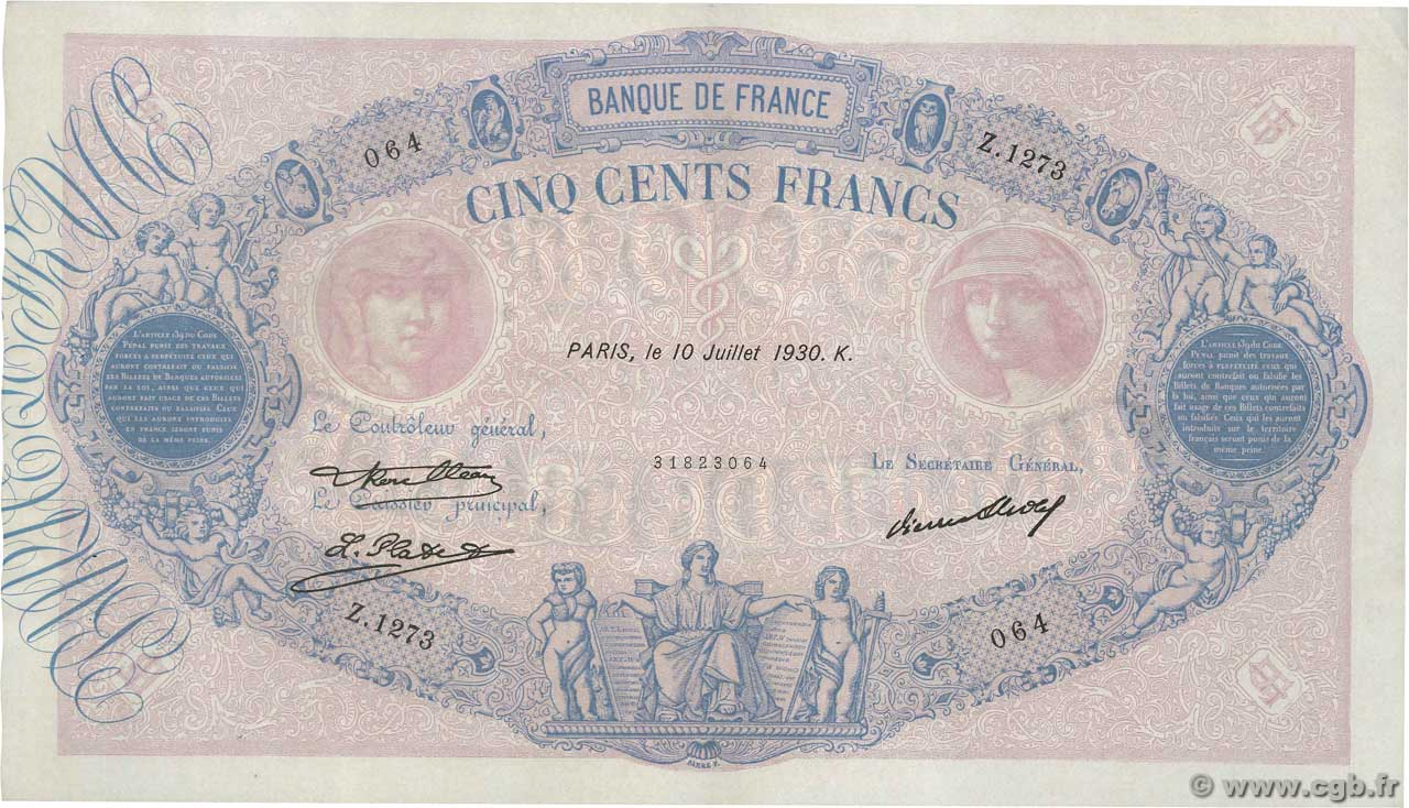 500 Francs BLEU ET ROSE FRANCE  1930 F.30.33 XF+