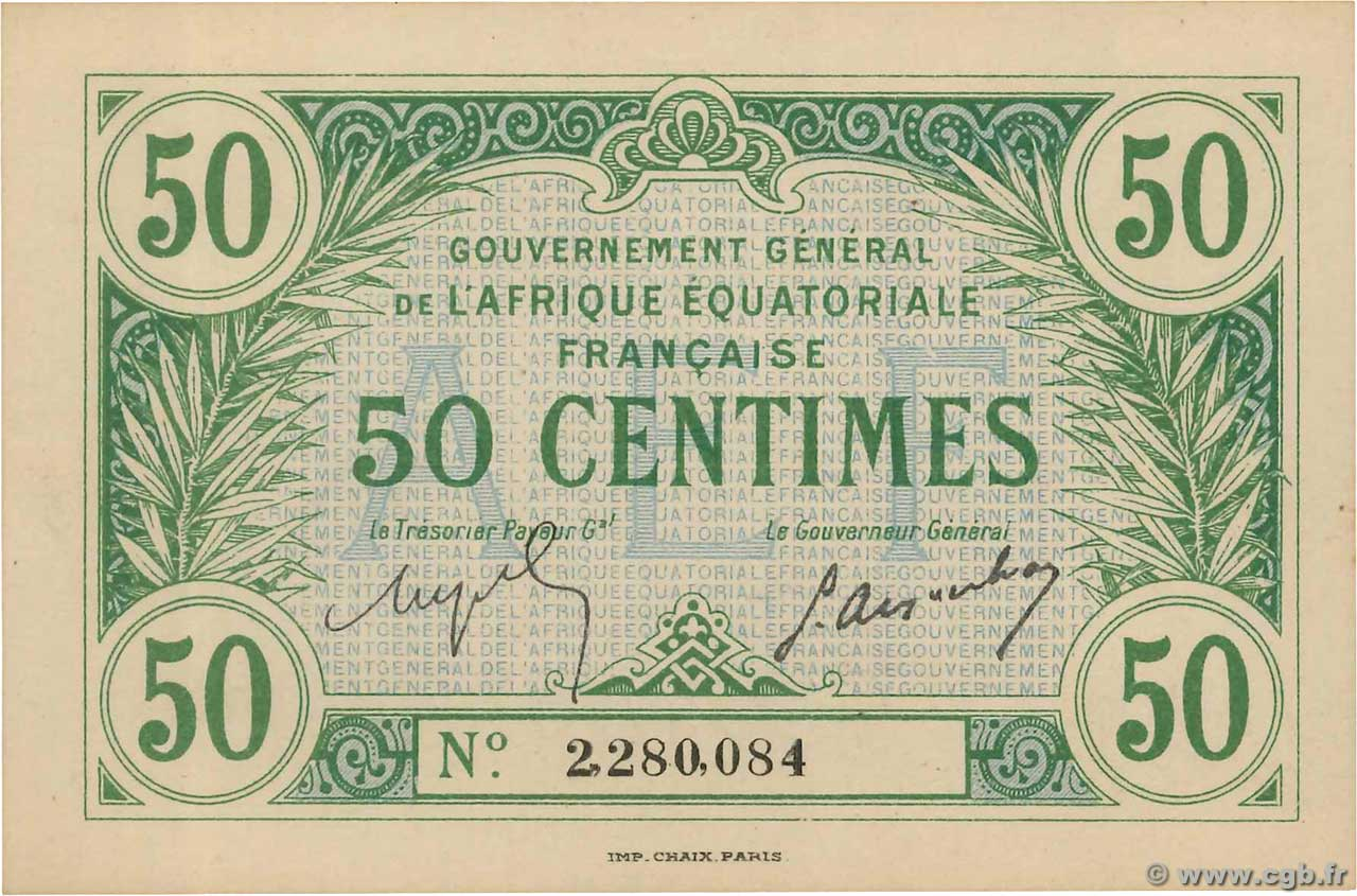 50 Centimes  FRENCH EQUATORIAL AFRICA  1917 P.01a UNC-