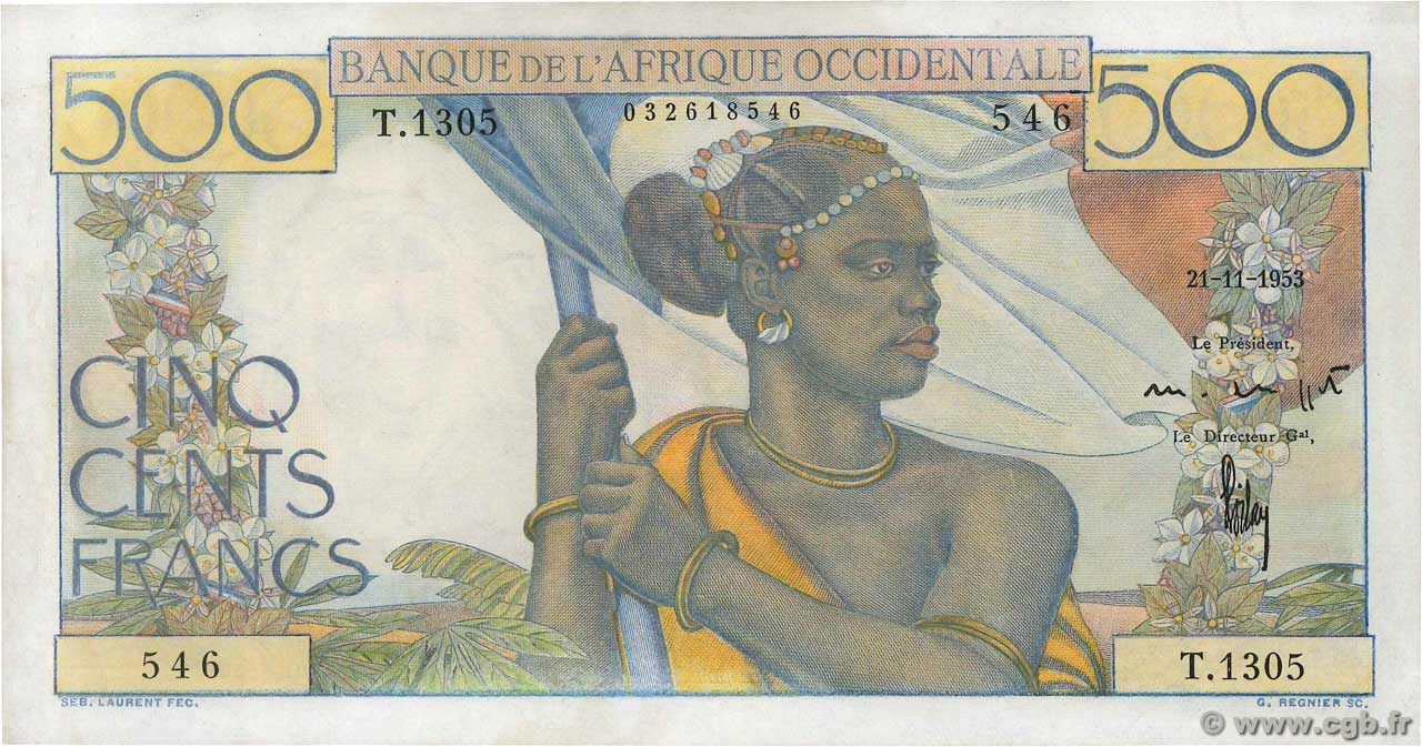 500 Francs  FRENCH WEST AFRICA  1953 P.41 VZ+
