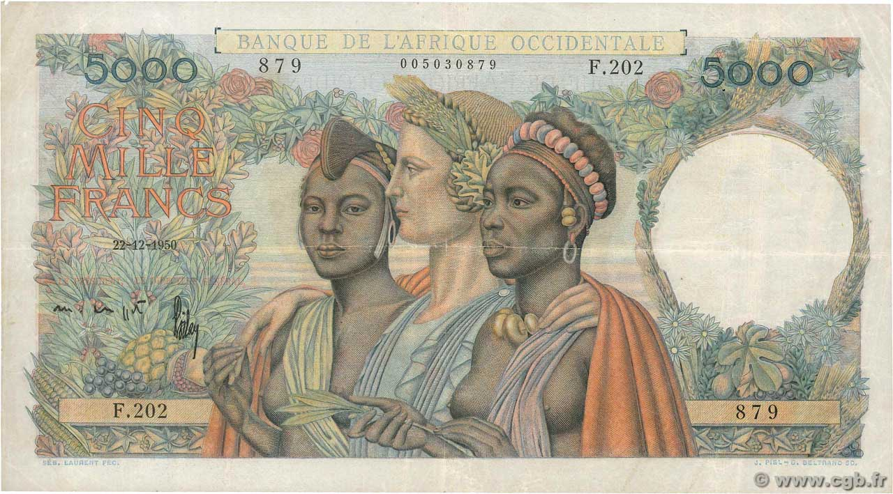 5000 Francs  FRENCH WEST AFRICA (1895-1958)  1950 P.43 F+