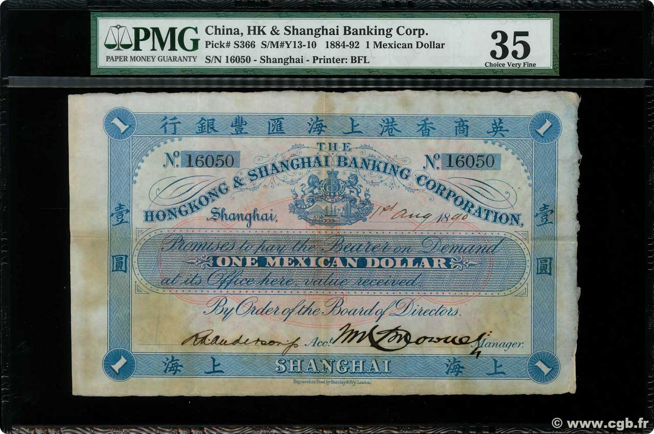 1 Mexican Dollar  CHINE Shanghai 1890 PS.0366 TTB