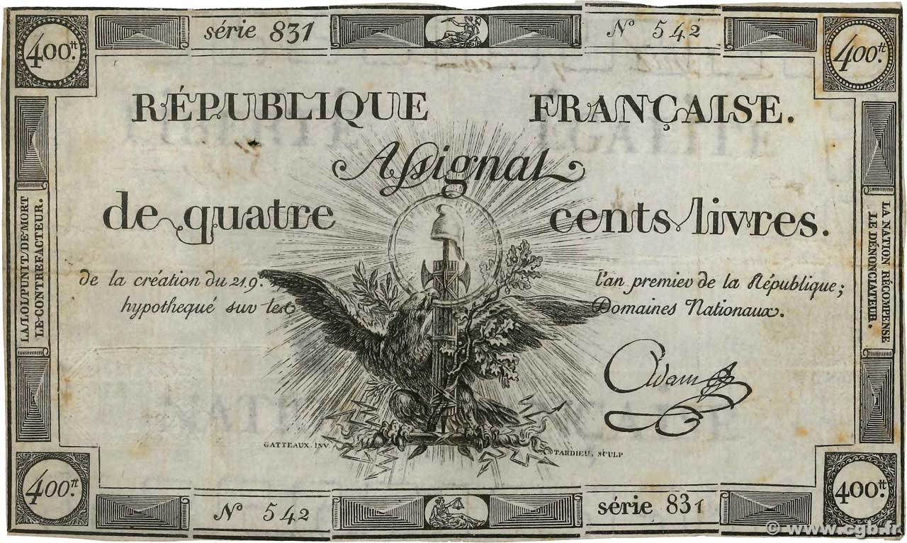 400 Livres  FRANCE  1792 Ass.38a TB