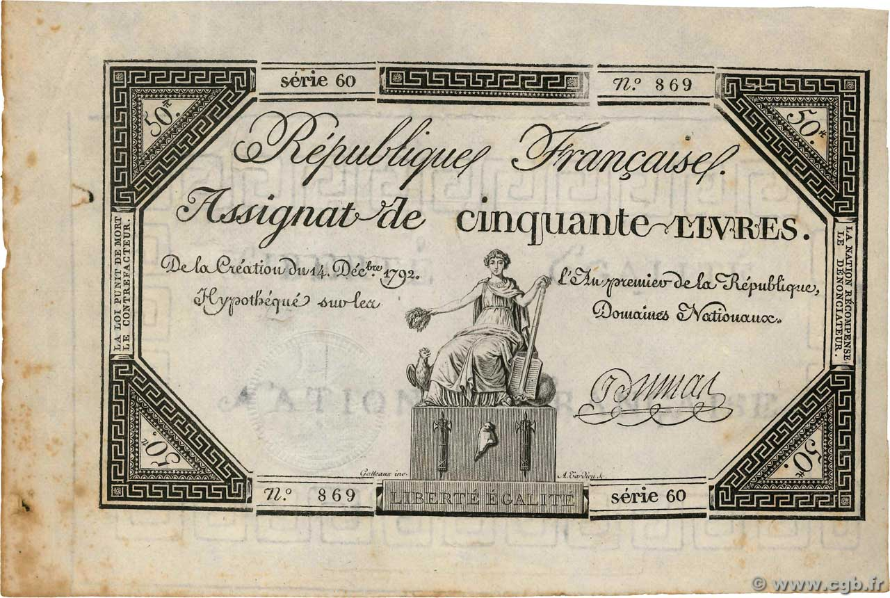 50 Livres  FRANCE  1792 Ass.39a SPL