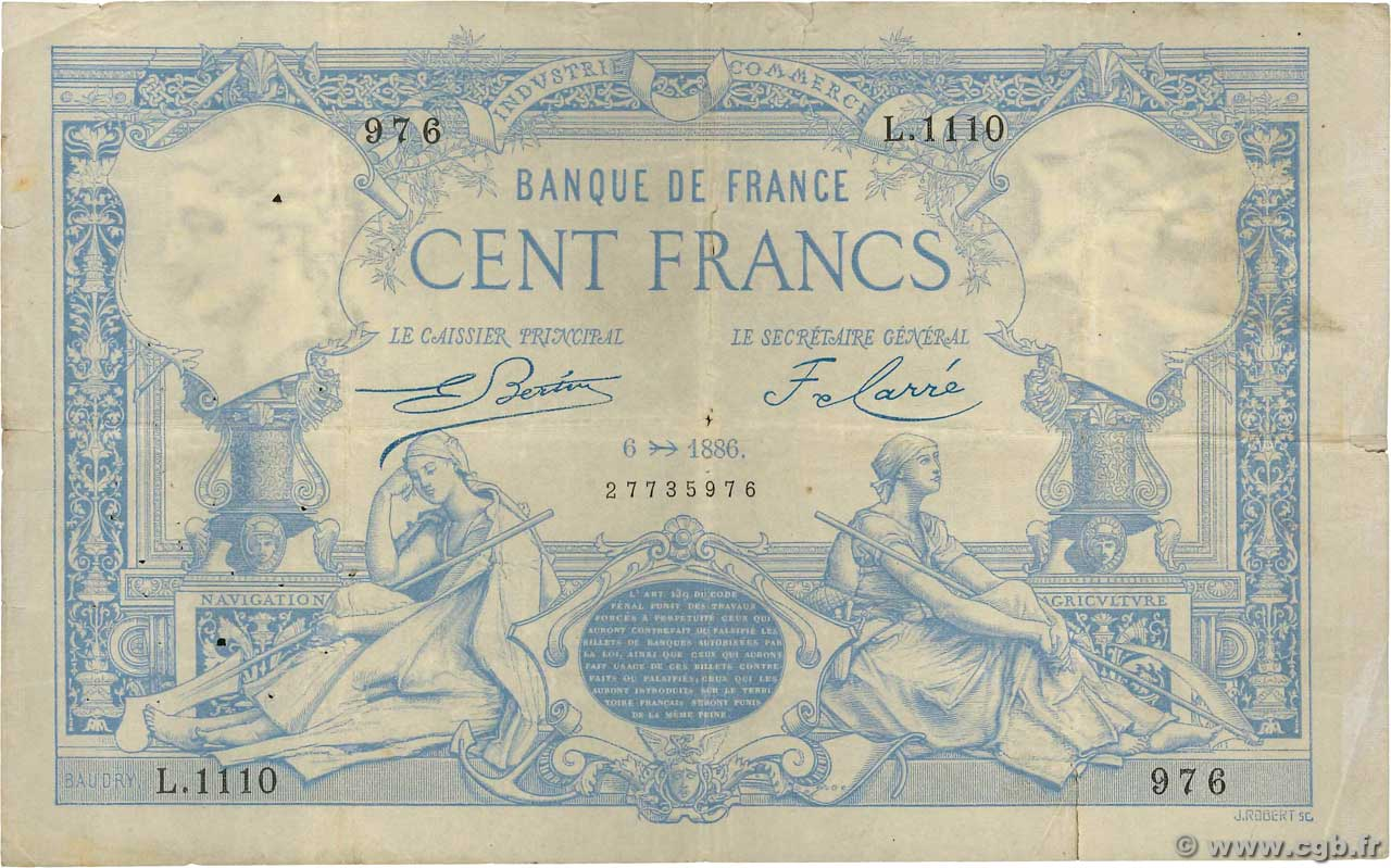 100 Francs type 1882  FRANCE  1886 F.A48.06 pr.TTB