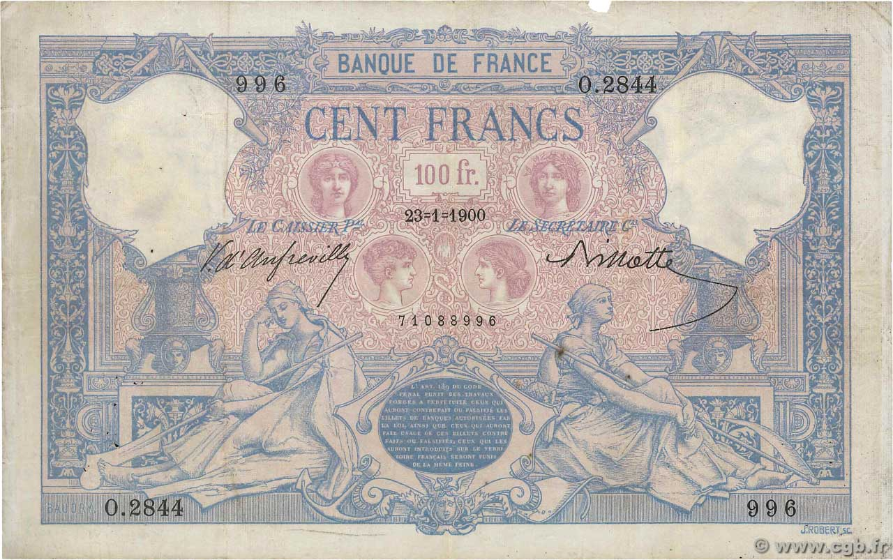 100 Francs BLEU ET ROSE  FRANCE  1900 F.21.13 pr.TB