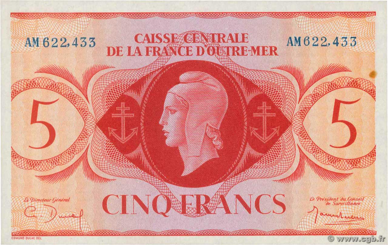 5 Francs  FRENCH EQUATORIAL AFRICA  1943 P.15a UNC-