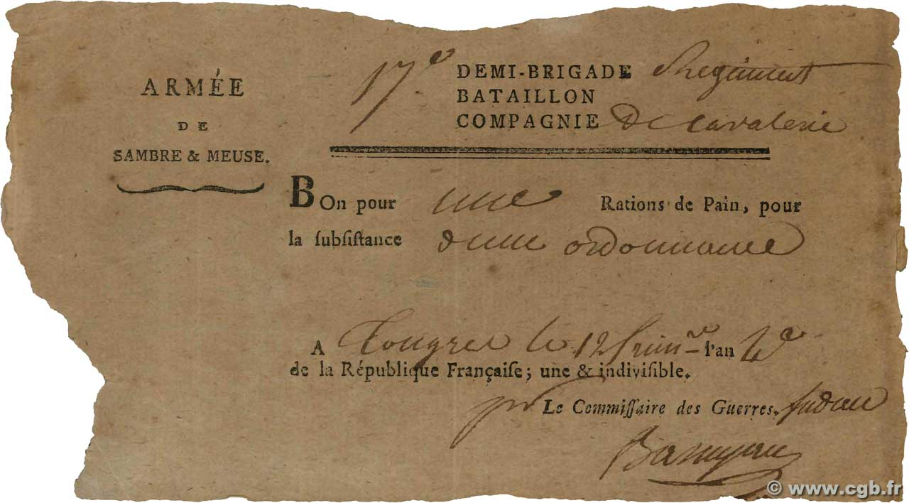 1 Ration de pain  FRANCE régionalisme et divers  1795  TTB