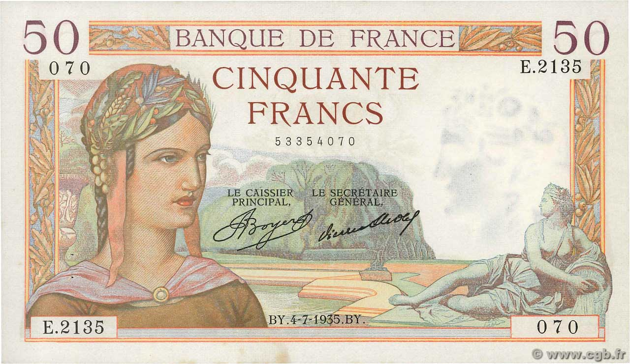 50 Francs CÉRÈS  FRANCE  1935 F.17.12 SUP