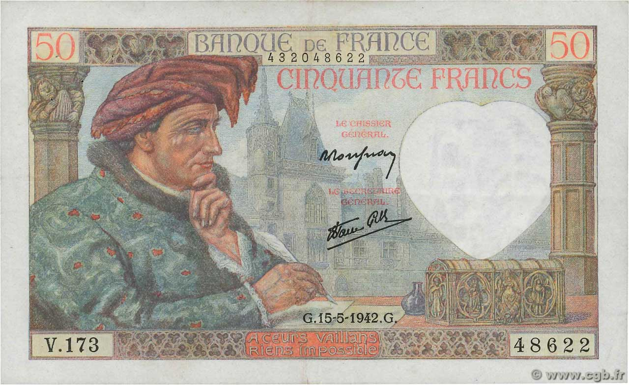 50 Francs JACQUES CŒUR  FRANCE  1942 F.19.20 SUP
