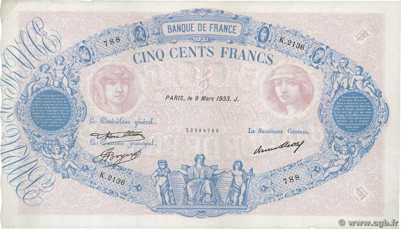 500 Francs BLEU ET ROSE  FRANCE  1933 F.30.36 SUP