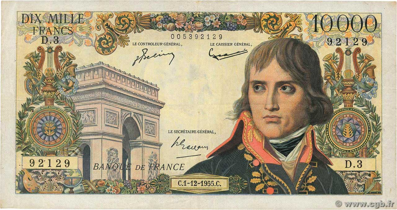 10000 Francs BONAPARTE Numéro radar FRANCE  1955 F.51.01 pr.TTB