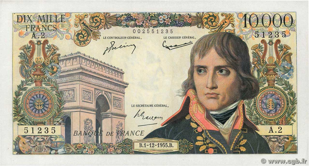10000 Francs BONAPARTE  FRANCE  1955 F.51.01 SUP