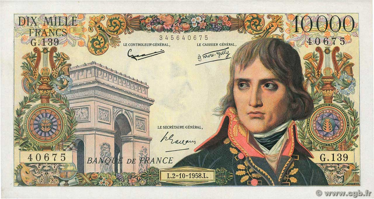 10000 Francs BONAPARTE  FRANCE  1958 F.51.13 SUP