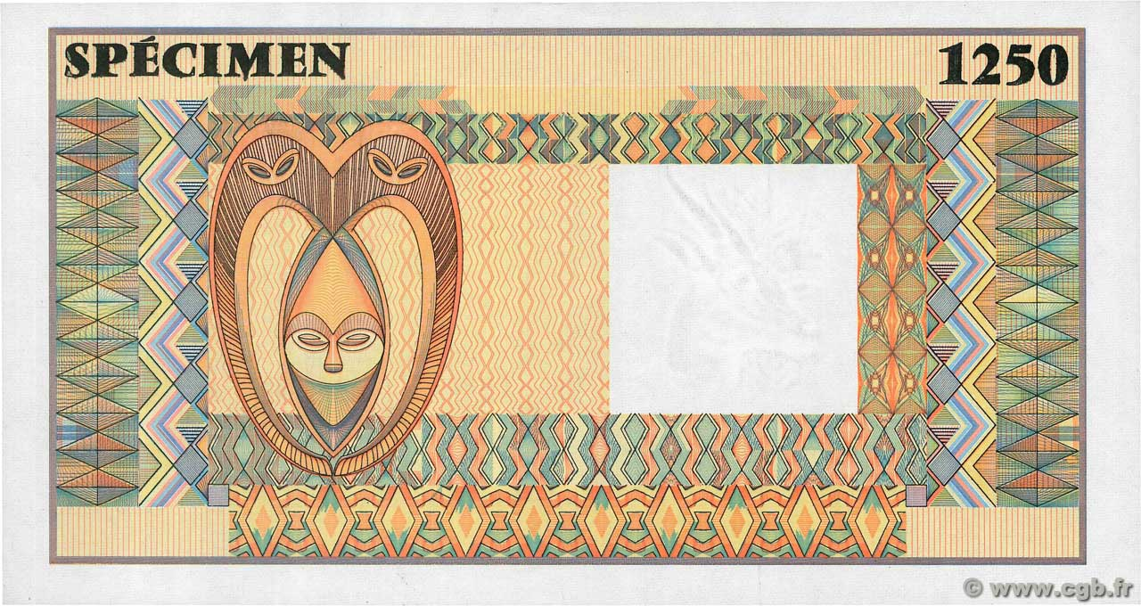 (1250 Francs) Spécimen FRENCH WEST AFRICA  1990 P.--s UNC-