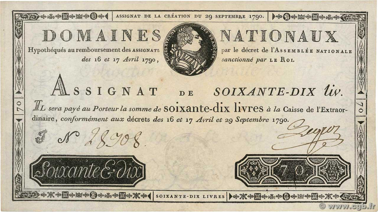 70 Livres  FRANCE  1790 Ass.06a XF