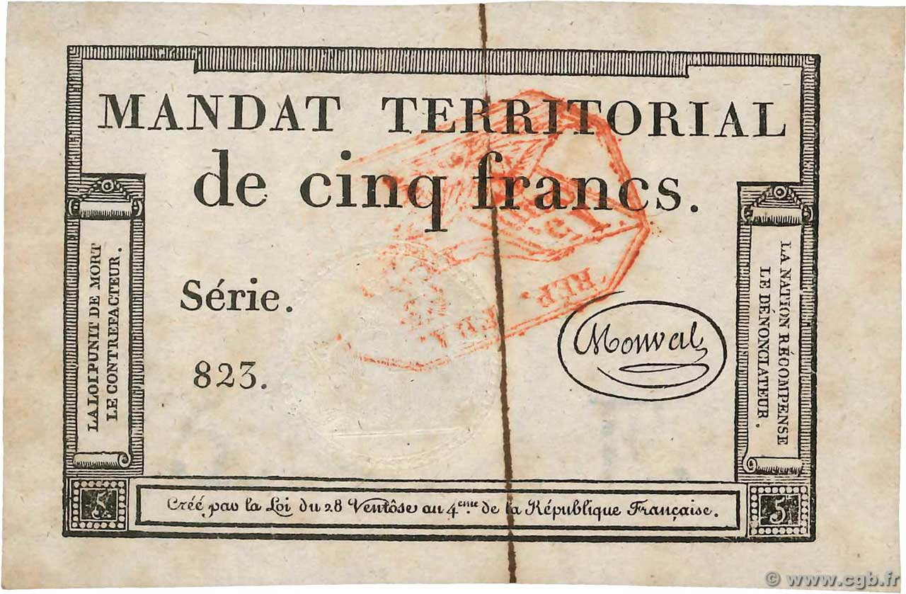 5 Francs Monval cachet rouge  FRANCE  1796 Ass.63c XF+