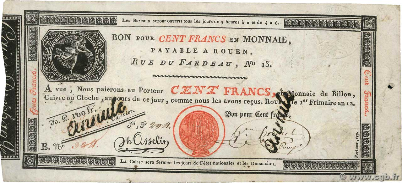 100 Francs Annulé FRANCE  1803 PS.246b VF