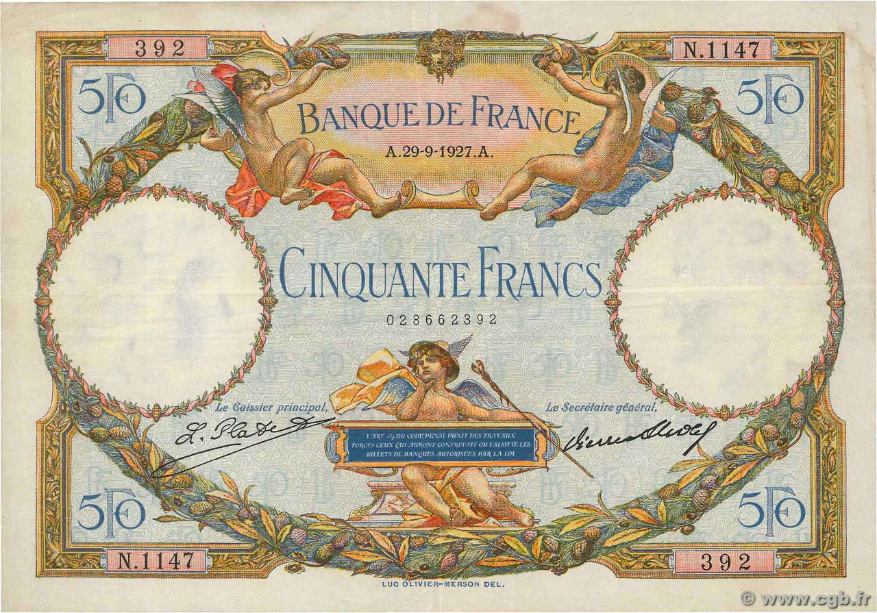 50 Francs LUC OLIVIER MERSON  FRANCE  1927 F.15.01 TTB