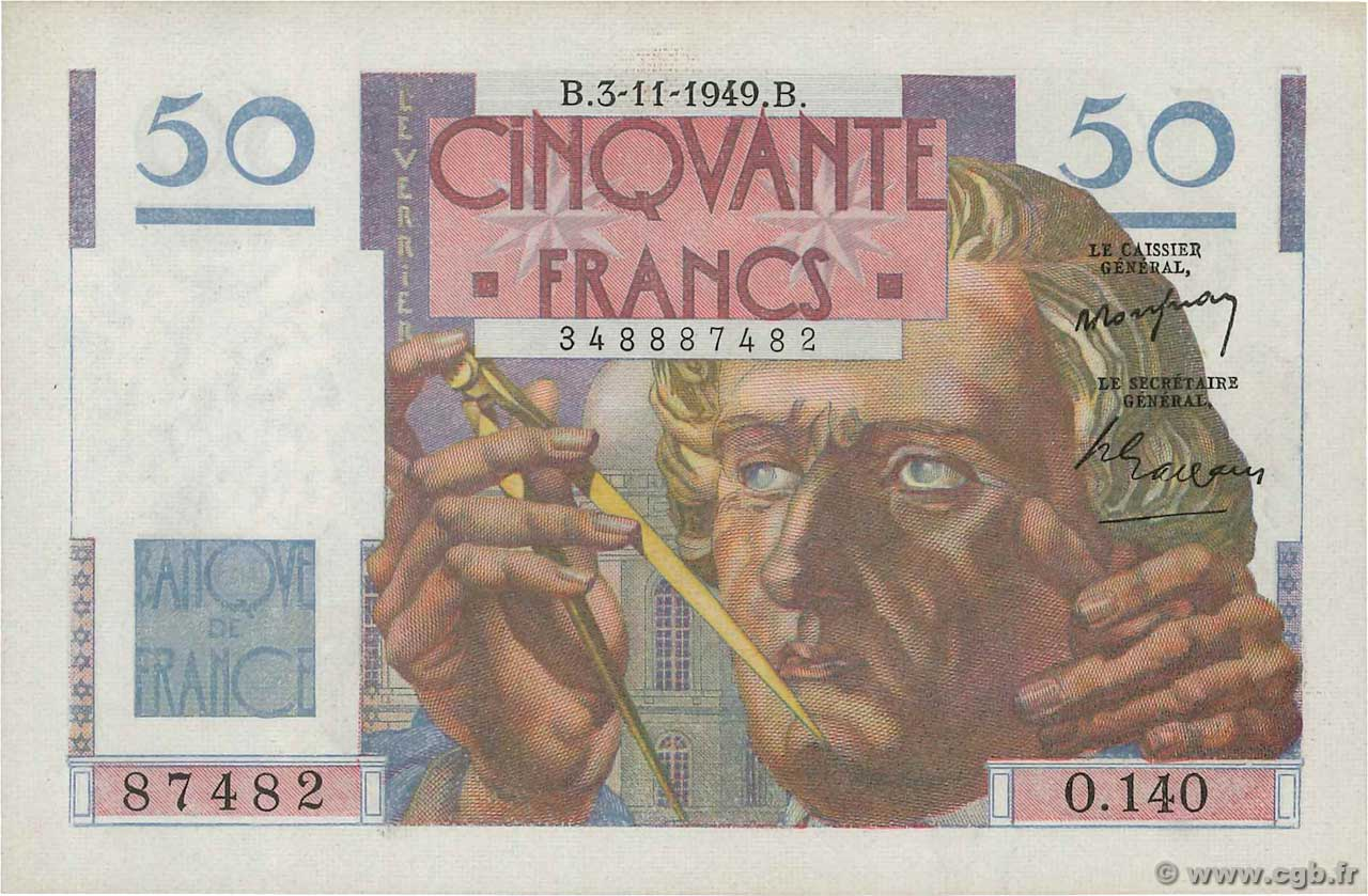 50 Francs LE VERRIER  FRANCE  1949 F.20.13 NEUF