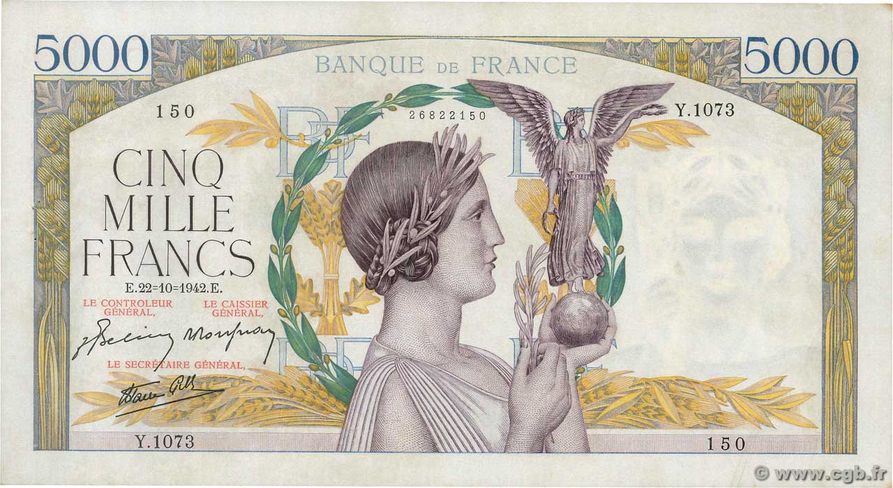 5000 Francs VICTOIRE Impression à plat  FRANCE  1942 F.46.43 SUP