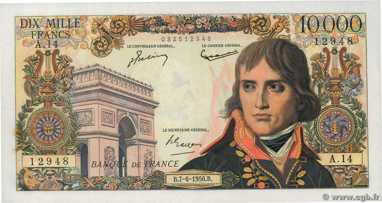 10000 Francs BONAPARTE  FRANCE  1956 F.51.03 SUP+