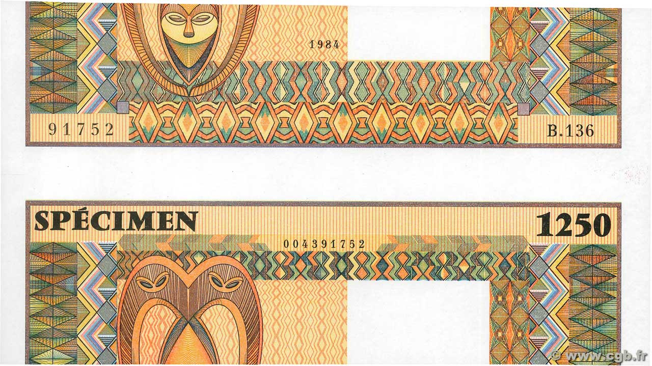 1250 Échantillon FRENCH WEST AFRICA  1984 P.--s q.FDC