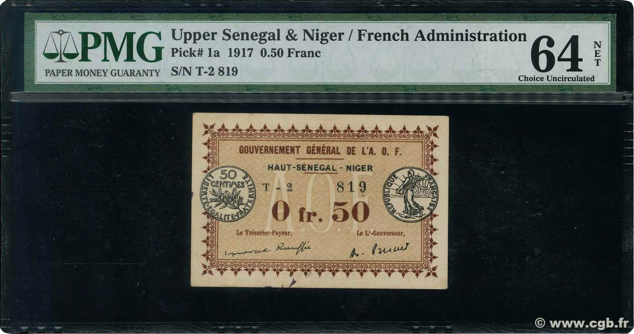 50 Centimes  FRENCH WEST AFRICA  1917 P.01 UNC-