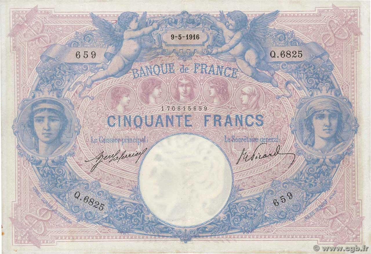 50 Francs BLEU ET ROSE  FRANCE  1916 F.14.29 pr.TTB