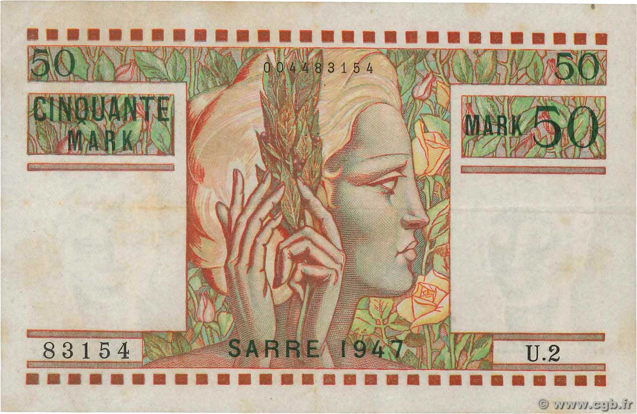 50 Mark SARRE  FRANCE  1947 VF.48.01 TB+