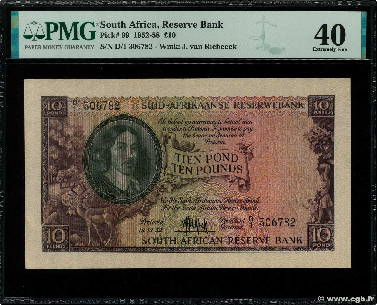 10 Pounds  SOUTH AFRICA  1952 P.099 XF
